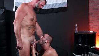 slim furry guy sucks a hairy daddy's stiffening cock