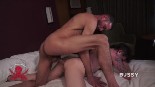 bareback top buries his bone is trans guy's ass & pussy