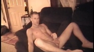 blond guy jerks his cock & exposes his asshole