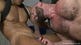 Bald Bearded Daddy & Spanish Muscle Hunk Flip-Fuck