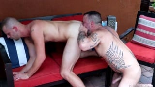 Hairy Daddy Rims Cubs Ass Poolside