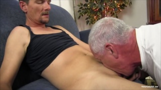 Silver-Haired Man & Young Lad Swap Blowjobs