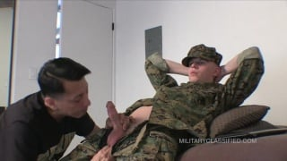 blond in army uniforms gets his big cock sucked
