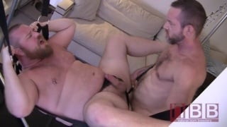 Man with Back Tattoo Bare Fucks Daddy in Sling
