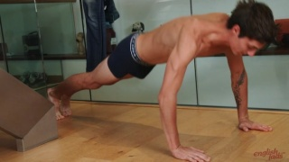 Slim & Toned Brit Does Push-Ups Before Wanking Off