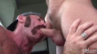 Hairy Man with Handlebar Mustache & Side Burns Fucks Muscle Daddy