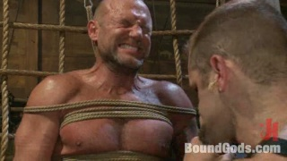 Bald Slave Roped and Whipped