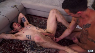 inked hunk gets his ass fingered and fucked