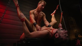 hung scott marco gets fucked in a leather sling