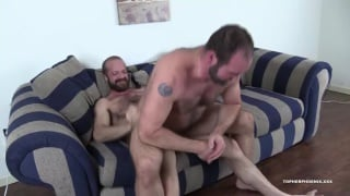 hairy bear sits back on a muscle hunk's big dick