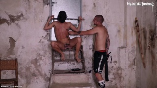 master aaron whips his slave boy while making him bark like a dog