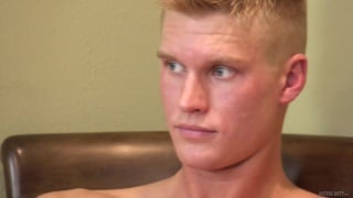 sexy blond guy with big low hangers jacks off