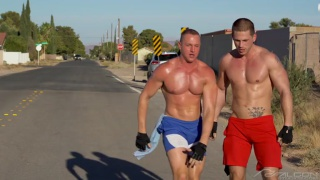 muscle hunks blow each other and douse one another with jizz