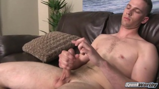 sexy guy plays with his own precum & gets cock measured