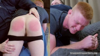 ginger guy gets his pale ass spanked red