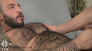 hairy muscle man fucks a bespectacled guy's ass