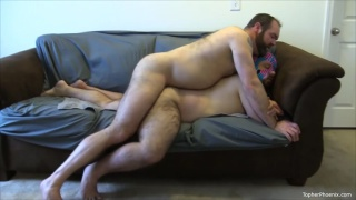 bearded daddy fucks and breeds a masked man