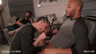 guy watches a dude getting blow, until he can't watch anymore