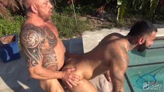 hairy men flip-fucking by the pool