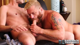 bearded daddy on his knees with his ass in blond boy's face