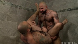bearded hairy men fucking in the gym showers