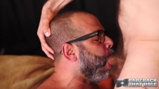 bespectacled & bearded cocksucker takes this dick deep
