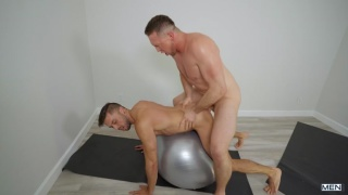 guy gets fucked on a yoga ball