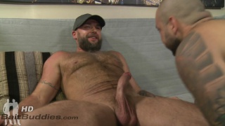 42-year-old bearded straight man offers his cock to this gay man
