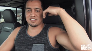 latino guy gets caught jacking his dick in his car