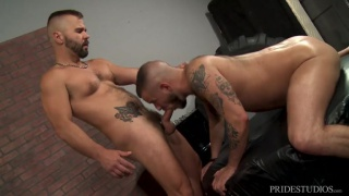 furry bottom shoots his load with this man inside of him