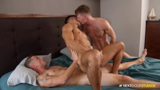 guy rides a stranger's cock while kissing his lover