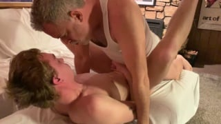 hung daddy in wife beater fucks blond twink's ass