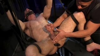 hairy hunk tied up, tickled & cock edged