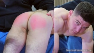 Straight Lad's Ass in Bright Red After his Long, First Spanking