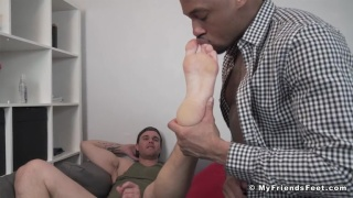 Hunk loves having his feet pampered & worshipped