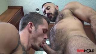 Hairy Latino Man Gets His Hole Bred in Kitchen