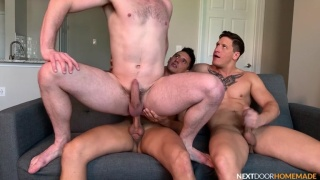 Horny Guy Rides One Dick Then Another