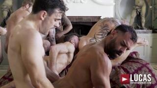 Nine Men Fucking Bareback with Double Penetration Fucking