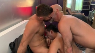 Daddy & His Lover Share a Young Lad in Spit-Roast Fuck
