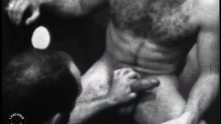 Vintage film with muscle daddy in gloryhole sex