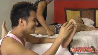 Tickling Asian Guy's Feet