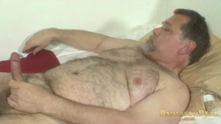 Daddy Stroking Fat Bear Cock