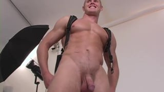 Nick strokes his college cock