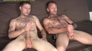 Hairy Striaght Dudes Jacking Side by Side