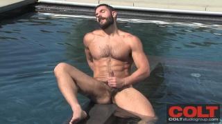 Hairy Man Bob Hager Jerks in Pool