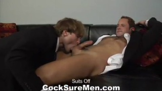 Suited guys strip and suck