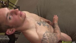 Tattooed Guy Beats Off