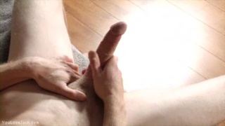 Jerking Big Uncut Cock