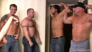 4 guys naked in front of clothed woman