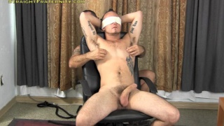 Tattooed Guy Blindfolded and Edged